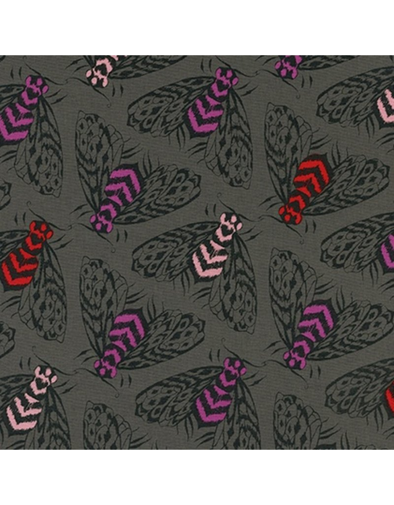 Sarah Watts Magic Forest, Bees in Charcoal, Fabric Half-Yards
