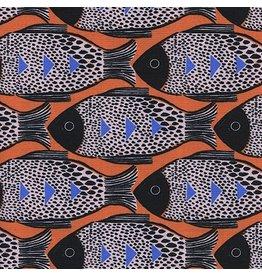 Sarah Watts Magic Forest, Fish in Orange, Fabric Half-Yards