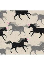 Sarah Watts Magic Forest, Unicorns in Noir, Fabric Half-Yards