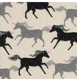 Sarah Watts Magic Forest, Unicorns in Noir, Fabric Half-Yards