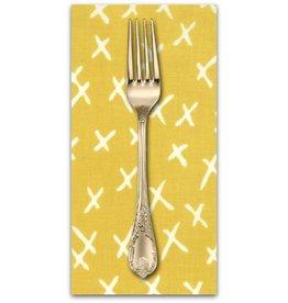 PD's Moda Collection Savannah, X Marks in Citrine, Dinner Napkin