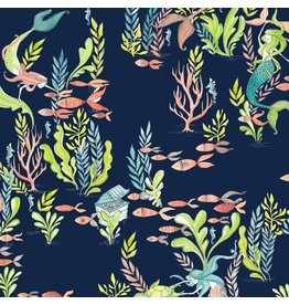 Cori Dantini Mermaid Days, Frolicking at the Bottom of the Sea in Navy, Fabric Half-Yards