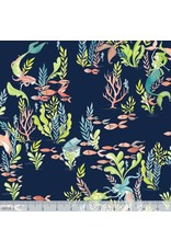 PD's Blend Fabrics Collection Mermaid Days, Frolicking at the Bottom of the Sea in Navy, Dinner Napkin