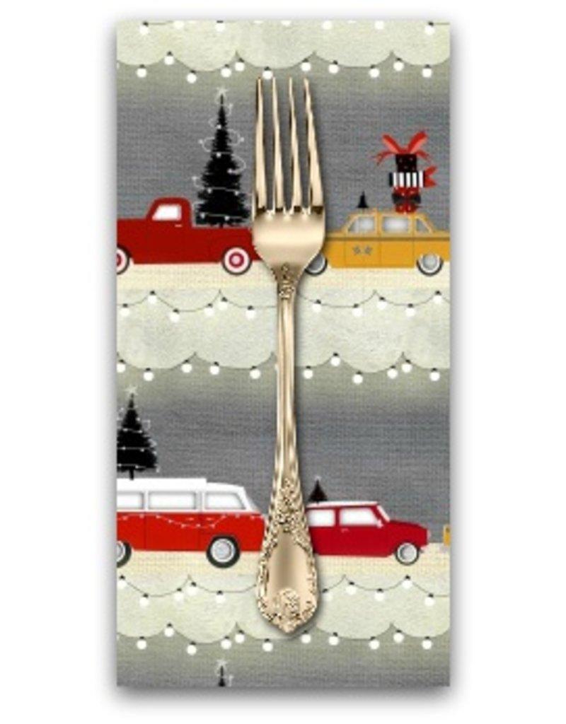 Picking Daisies Dinner Napkin Kit: Around Town Christmas, Car Stripe in Grey