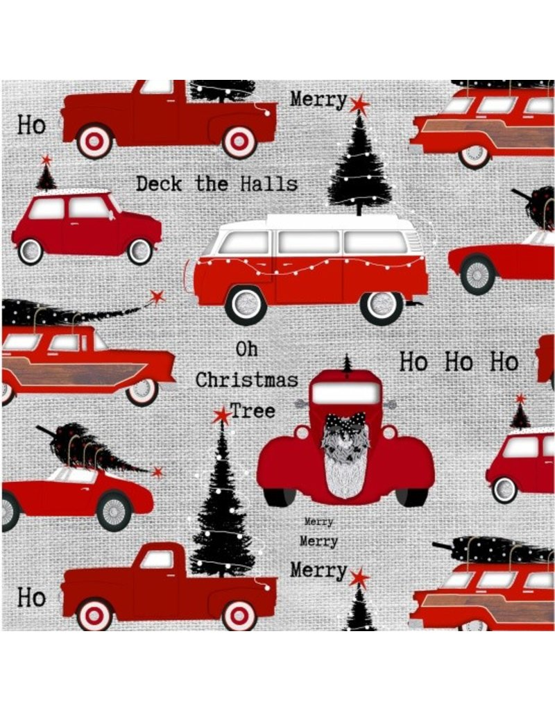 Picking Daisies Dinner Napkin Kit: Around Town Christmas, Cars in Grey