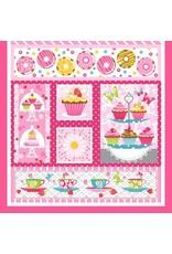 "Studio E Cupcake Cafe, Panel in Pink, 24"" Fabric Panel"