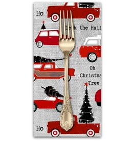 PD's Studio e Collection Around Town Christmas, Cars in Grey, Dinner Napkin
