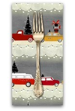 PD's Studio e Collection Around Town Christmas, Car Stripe in Grey, Dinner Napkin