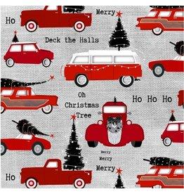 Studio E Around Town Christmas, Cars in Grey, Fabric Half-Yards