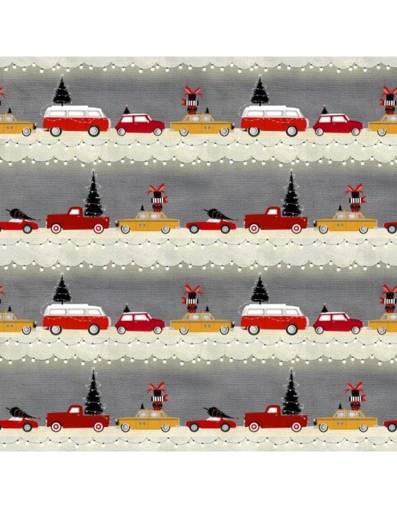 Studio E Around Town Christmas, Car Stripe in Grey, Fabric Half-Yards