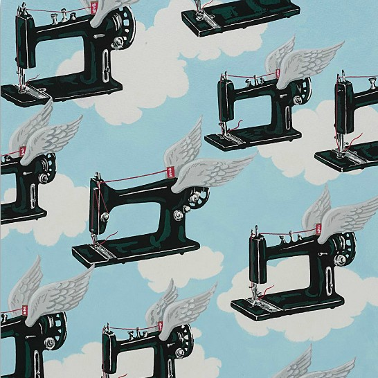 PD's Alexander Henry Collection The Real Surreal, Flying Machines in Sky, Dinner Napkin