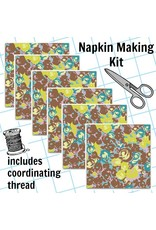 Picking Daisies Dinner Napkin Kit: Futurum, Grow in Brown