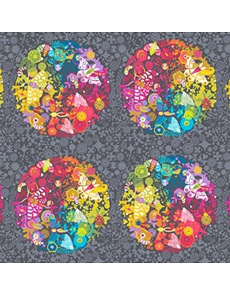 "Alison Glass Ex Libris, Art Theory Panel in Grey, 24"" Fabric Panel"