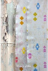 Alison Glass Linen/Cotton Tailored Cloth, Adorn, Symbolic in Cool, Fabric Half-Yards