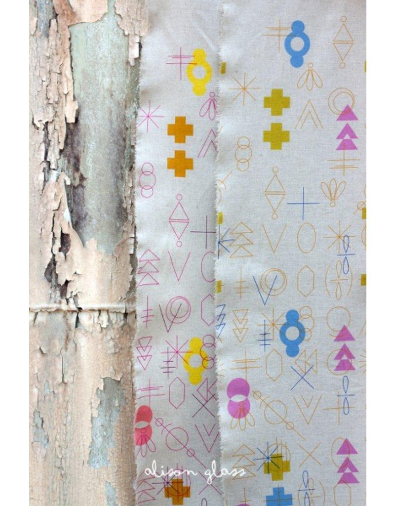 Alison Glass Linen/Cotton Tailored Cloth, Adorn, Symbolic in Warm.jpg, Fabric Half-Yards