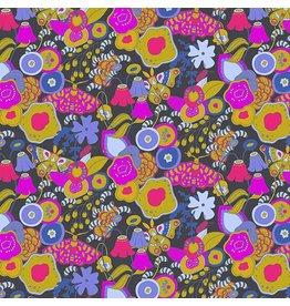 "Alison Glass Cotton Lawn, Adorn, Miniature Garden in Ebony 54"", Fabric Half-Yards"