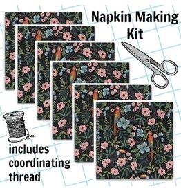 Picking Daisies Dinner Napkin Kit: Menagerie, Paradise Garden in Midnight