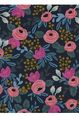 Rifle Paper Co. Linen/Cotton Canvas, Menagerie, Rosa in Navy 8012-22, Fabric Half-Yards