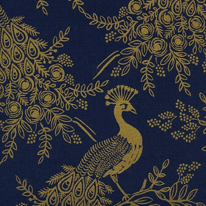 Rifle Paper Co. Linen/Cotton Canvas, Menagerie, Royal Peacock in Navy 8042-12, Fabric Half-Yards