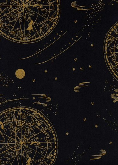 Rifle Paper Co. Cotton Lawn, Menagerie, Celestial in Navy with Metallic 8034-21, Fabric Half-Yards