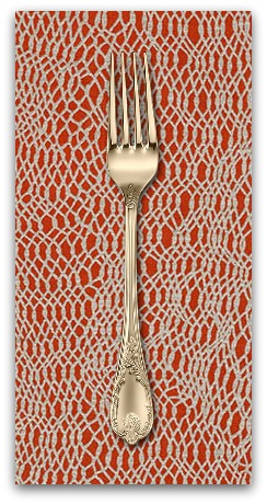 PD's Jennifer Sampou Collection Shimmer On, Net in Chinese Red with Metallic, Dinner Napkin