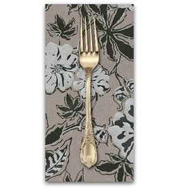 PD's Jennifer Sampou Collection Shimmer On, Floral in Pewter with Metallic, Dinner Napkin