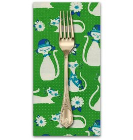PD's Cotton + Steel Collection Beauty Shop, Fancy Cats in Green, Dinner Napkin