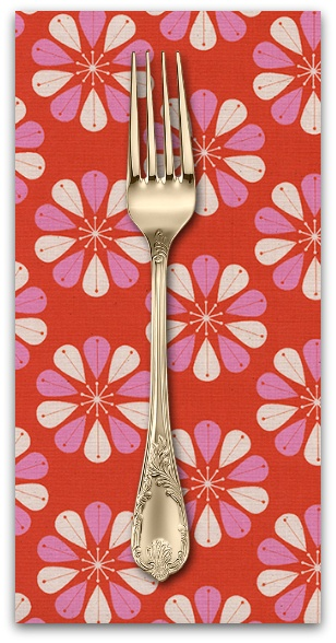 PD's Cotton + Steel Collection Beauty Shop, Shower Cap in Red, Dinner Napkin
