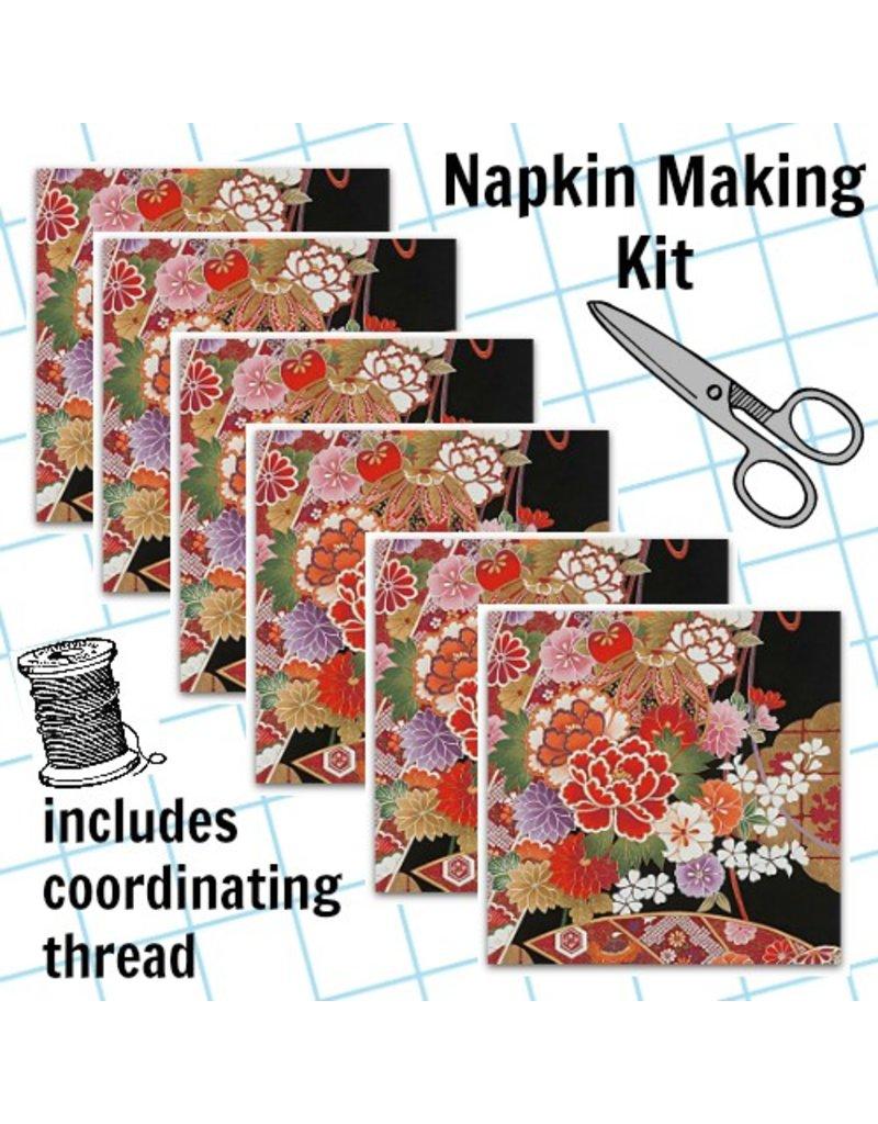 Picking Daisies Dinner Napkin Kit: Indochine, Gilded Botan in Black