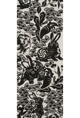 Alexander Henry Fabrics Indochine, Usagi (Rabbit) in Black, Fabric Half-Yards 8561A