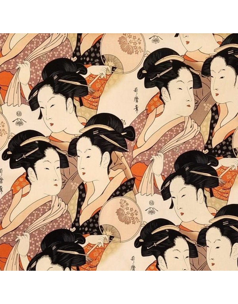 Alexander Henry Fabrics Indochine, Sisters of the Golden Temple in Apricot, Fabric Half-Yards 14313F