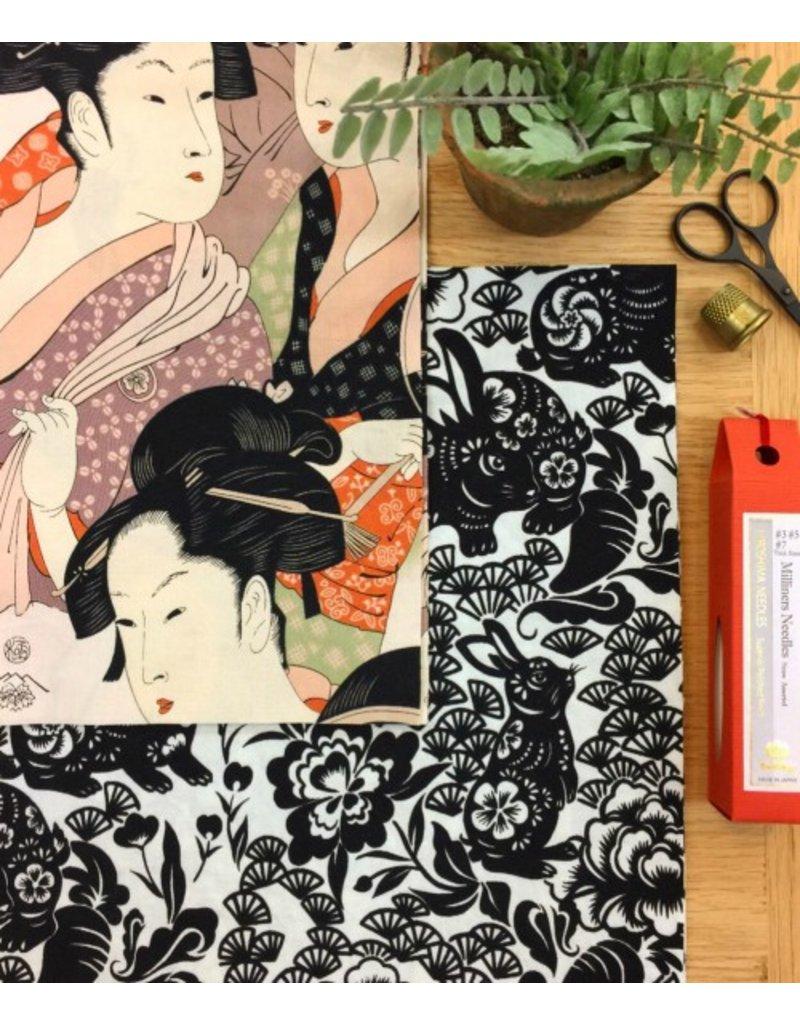Alexander Henry Fabrics Indochine, Usagi (Rabbit) in Black, Fabric Half-Yards 8561A