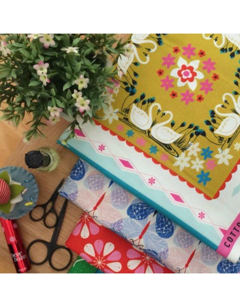 Cotton + Steel Beauty Shop, Good Luck in Blue C6004-01, Fabric Half-Yards