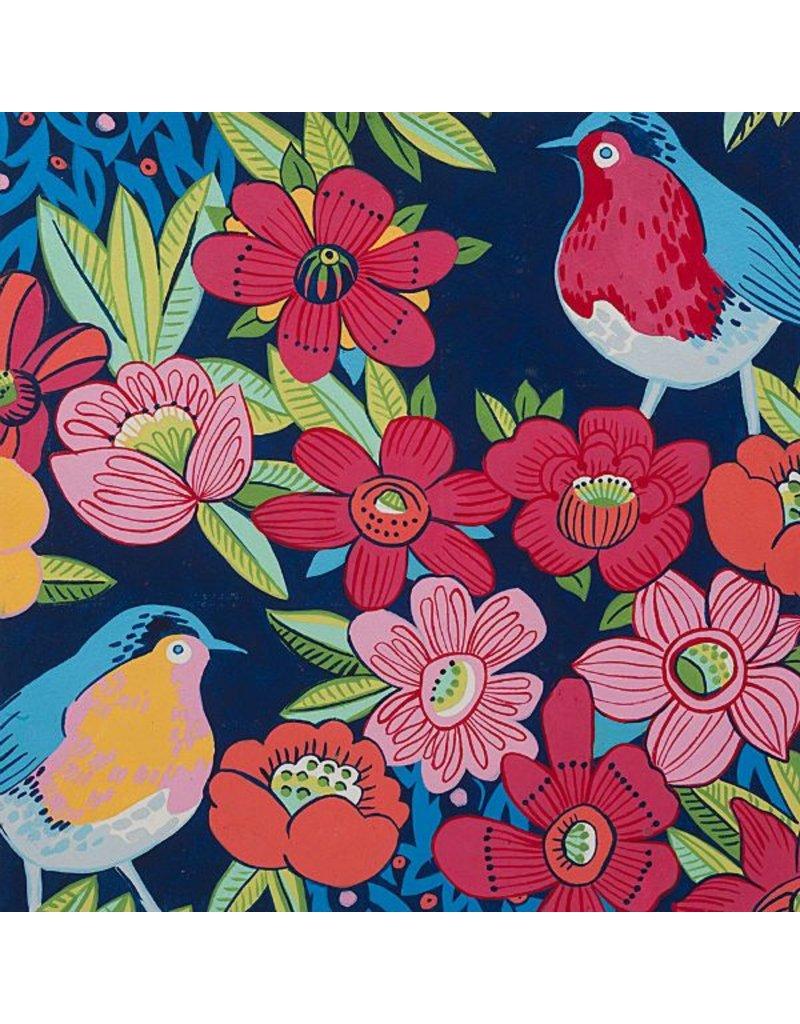 Alexander Henry Fabrics In the Kitchen, Birdland in Navy, Fabric Half-Yards 8534C