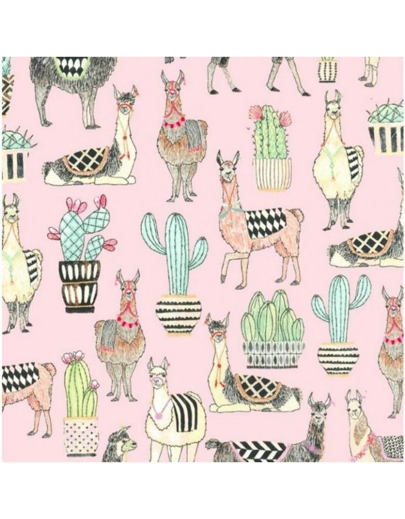 Michael Miller Lovely Llamas, Lovely Llamas in Pink, Fabric Half-Yards CX7297