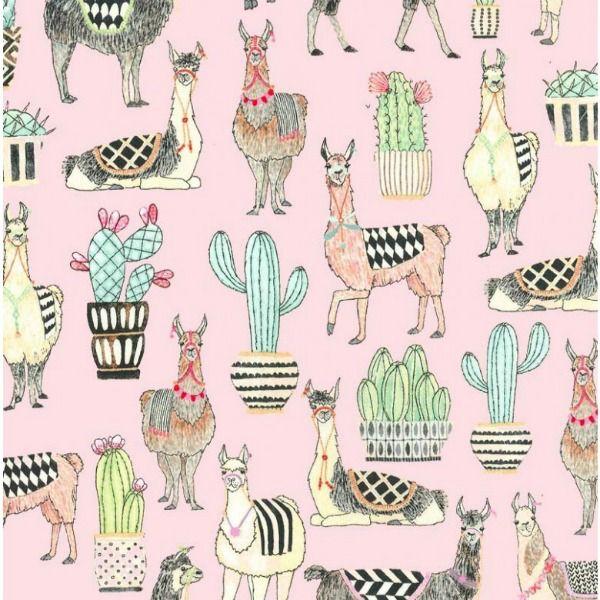 Michael Miller Lovely Llamas, Lovely Llamas in Pink, Fabric Half-Yards CX7297