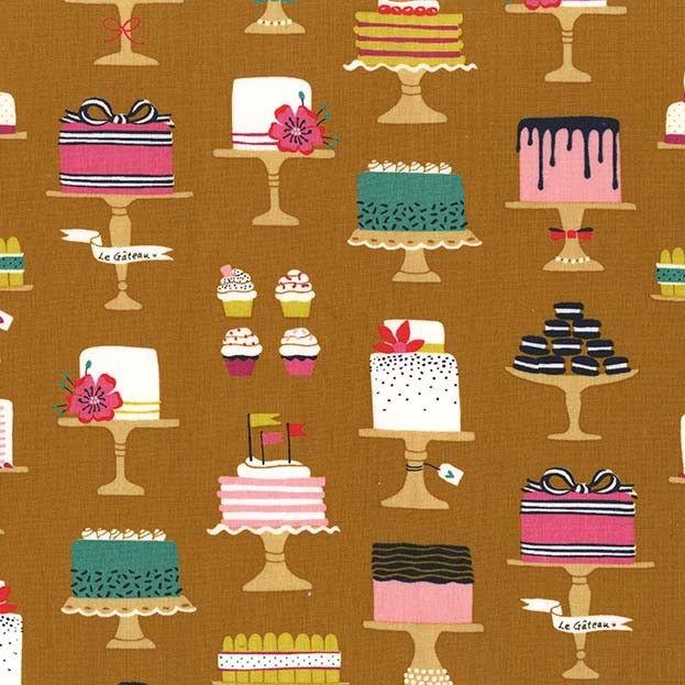Patty Sloniger Bake Shop, Sweet Cakes in Cinnamon, Fabric Half-Yards PS7428
