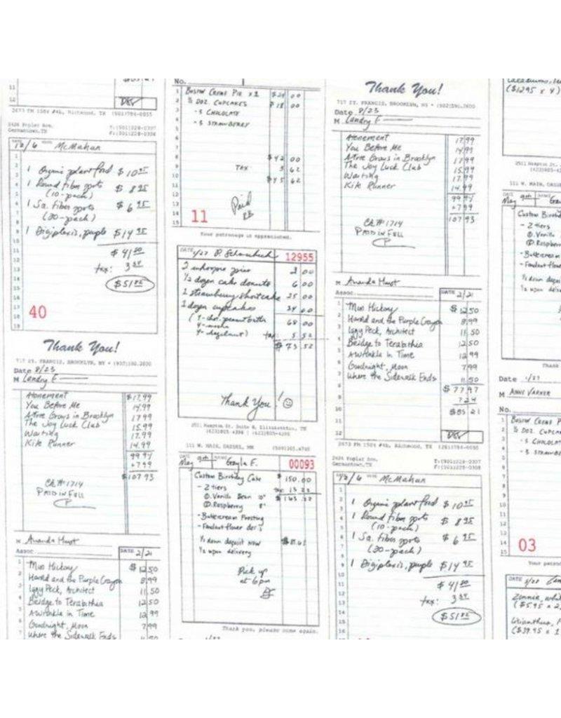 Patty Sloniger Bake Shop, Shop Receipts in Graphite, Fabric Half-Yards PS7422