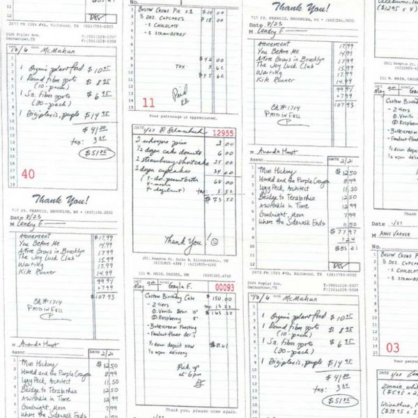Patty Sloniger Bake Shop, Shop Receipts in Graphite, Fabric Half-Yards PS7422