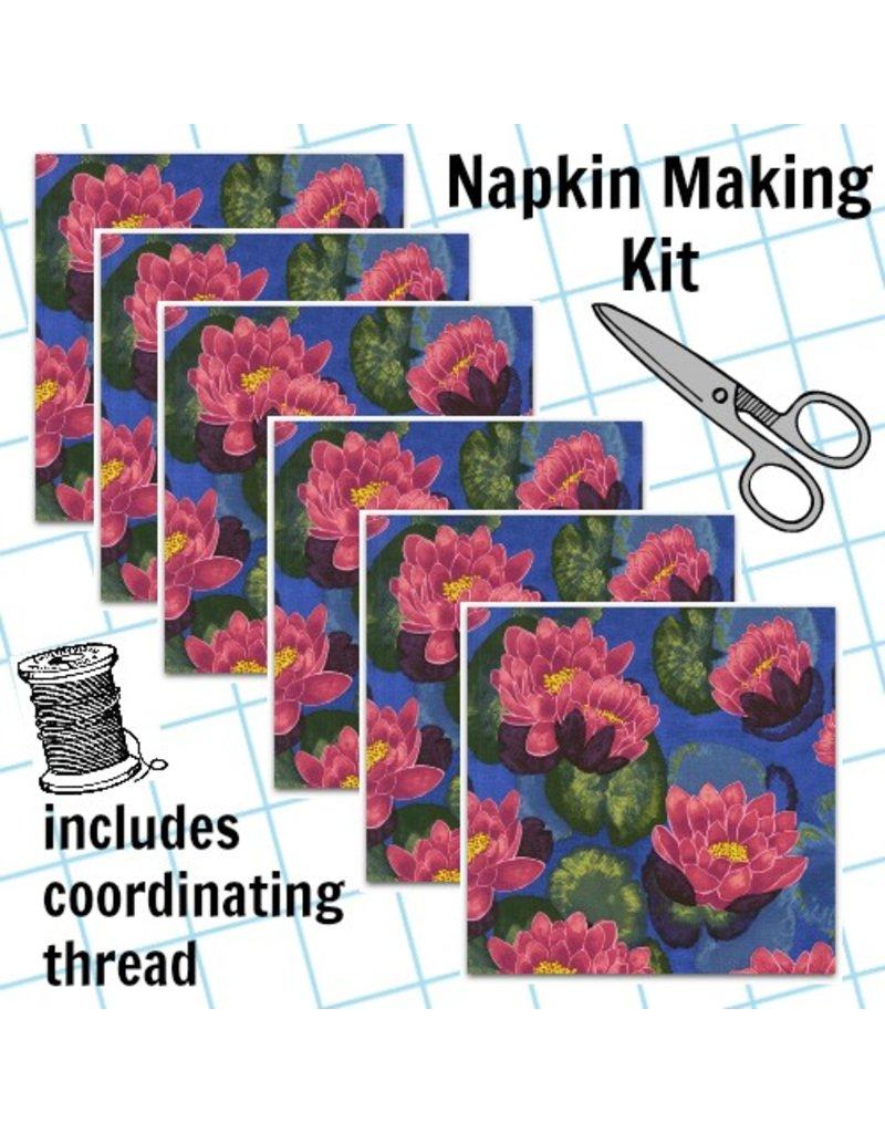 Picking Daisies Dinner Napkin Kit: Koi Garden, Blooming Lotus in Magenta