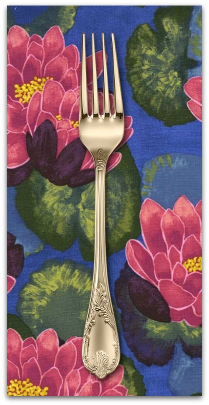 PD's Laura Gunn Collection Koi Garden, Blooming Lotus in Magenta, Dinner Napkin