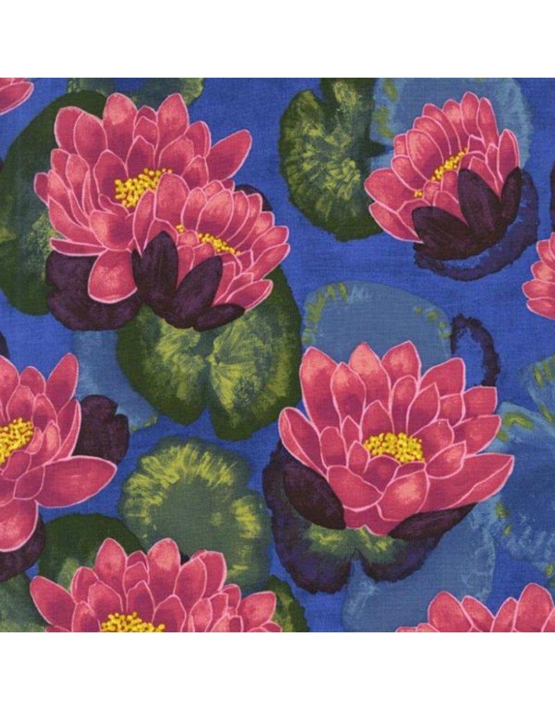 Laura Gunn Koi Garden, Blooming Lotus in Magenta, Fabric Half-Yards DC7432