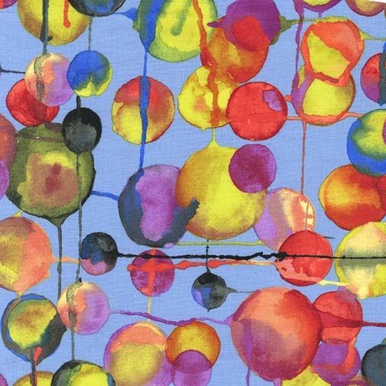 Laura Gunn Koi Garden, Bubbles in Blue, Fabric Half-Yards DC7437