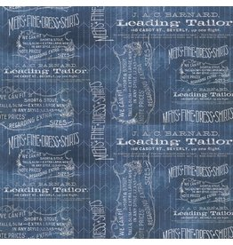 Tim Holtz Dapper, Tailored in Blue, Fabric Half-Yards PWTH066