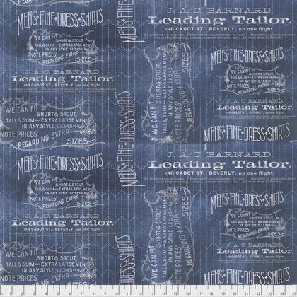 Tim Holtz Dapper, Tailored in Blue, Fabric Half-Yards PWTH066