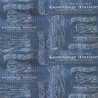 PD's Tim Holtz Collection Dapper, Tailored in Blue, Dinner Napkin