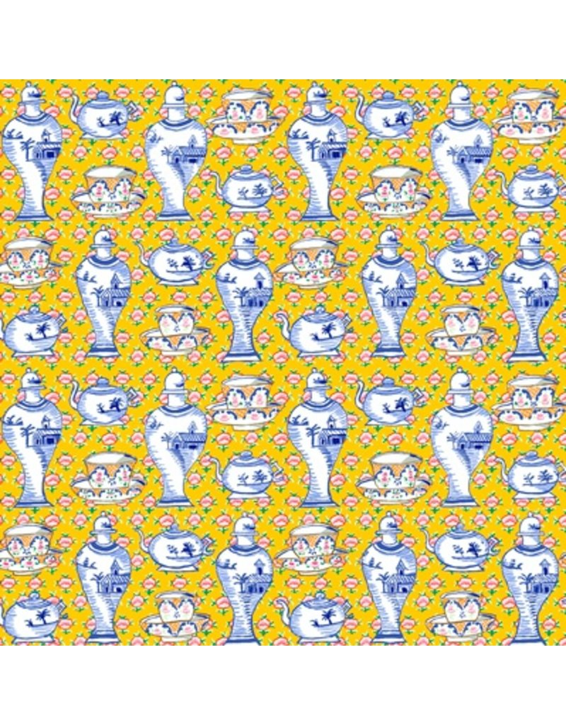 PD's Kaffe Fassett Collection Kaffe Collective Fall 2017, Delft Pots in Yellow, Dinner Napkin