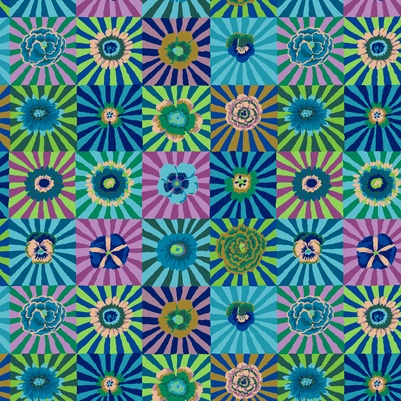 PD's Kaffe Fassett Collection Kaffe Collective, Sunburst in Blue, Dinner Napkin