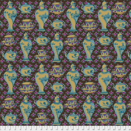 Kaffe Fassett Kaffe Collective Fall 2017, Delft Pots in Brown, Fabric Half-Yards  PWGP165