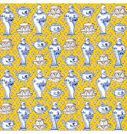 Kaffe Fassett Kaffe Collective Fall 2017, Delft Pots in Yellow, Fabric Half-Yards  PWGP165